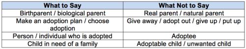 Adoption Terms
